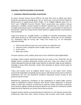 2013 yılı Kurumsal Yönetim İlkelerine Uyum Raporu