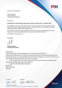 davet mektubu - Türkiye Hokey Federasyonu