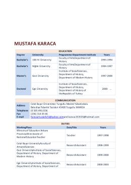 MUSTAFA KARACA - Celal Bayar Üniversitesi