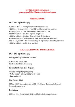 İDV ÖZEL BİLKENT ORTAOKULU 2014