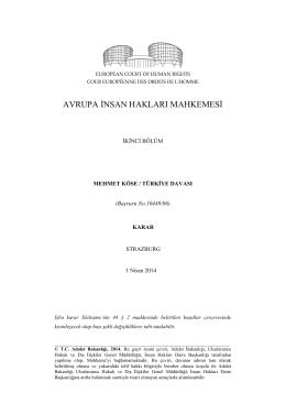 1 Nisan 2014 tarihli Mehmet Köse v. Türkiye