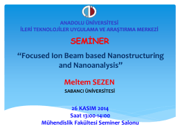 "SEMİNER ""Focused Ion Beam based Nanostructuring and"