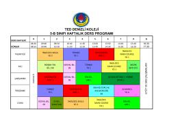 ted denizli koleji 5-b sınıfı haftalık ders programı