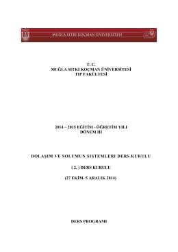 tc muğla sıtkı koçman üniversitesi tıp fakültesi 2014 – 2015 eğitim