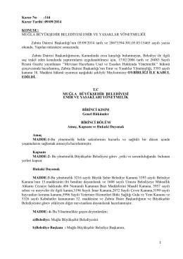 Karar No :144 Karar Tarihi :09/09/2014 KONUSU