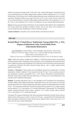 Reaktif Black 5 Tekstil Boyar Maddesinin Nanopartikül TiO2 ve TiO2