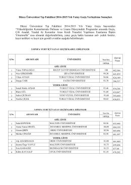 Düzce Üniversitesi Tıp Fakültesi 2014