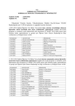 26.02.2014 Tarihli Yönetim Kurulu Kararı