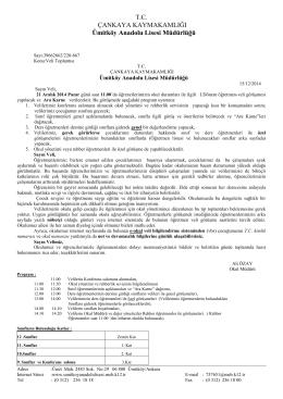 T.C. ÇANKAYA KAYMAKAMLIĞI Ümitköy Anadolu Lisesi Müdürlüğü
