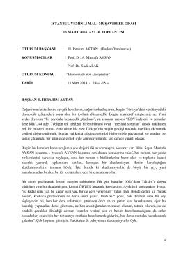İstanbul Yeminli Mali Müşavirler Odası 13 Mart