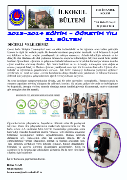 İLKOKUL BÜLTENİ - TED İstanbul Koleji