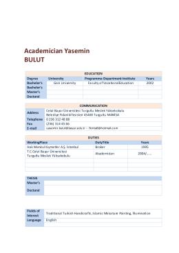 Academician Yasemin BULUT - Celal Bayar Üniversitesi