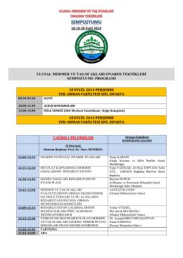 Program (pdf) - Orman Fakültesi - Süleyman Demirel Üniversitesi