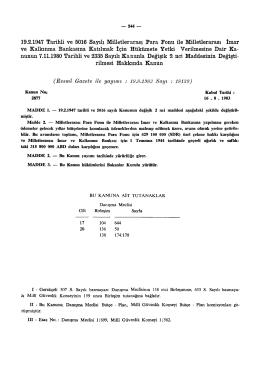 19.2.1947 Tarihli ve 5016 Sayılı Milletlerarası Para Fonu ile