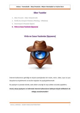 Siber Tuzaklar Virüs ve Casus Yazılımlar (Spyware)