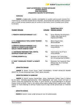 Esas Sözleşme Sayfa 1 - Vakıf Gayrimenkul Yatırım Ortaklığı
