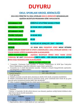 DUYURU - Trabzon Gençlik ve Spor İl Müdürlüğü