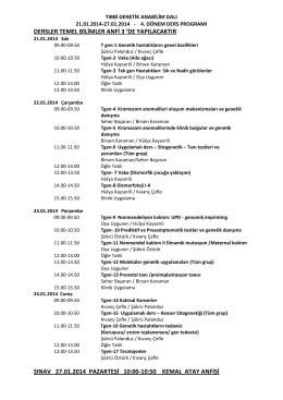 Tıbbi Genetik 4. Dönem Ders Programı ve Öğrenci Listesi 21.01
