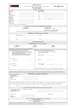 Talep Formu - Türkiye İş Bankası