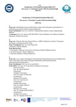 T.C. MARMARA ÜNİVERSİTESİ REKTÖRLÜĞÜ İnovasyon ve