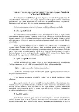 SERBEST MESLEK KAZANCININ TESPİTİNDE BEYANNAME