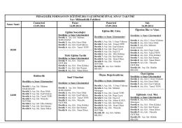 YER: Mühendislik Fakültesi DERSLİKLAR: 1-2-3-4-5-6