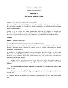 Özel Öğrenci Yönergesi - Mustafa Kemal Üniversitesi