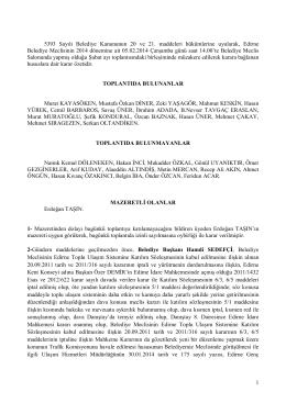 05 şubat 2014 tarihli meclis karar özeti