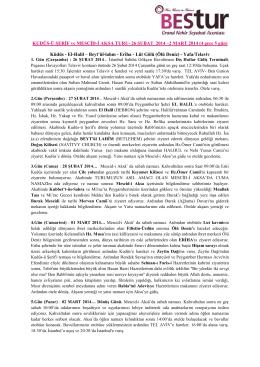 KUDÜS-Ü ŞERİF ve MESCİD-İ AKSA TURU- 26 ŞUBAT