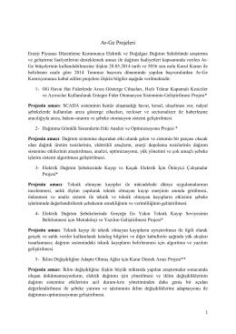 Temmuz 2014 Dönemi Ar-Ge Projeleri Bilgileri