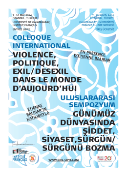 VIOLENCE, POLITIQUE, EXIL / DESEXIL DANS LE MONDE D