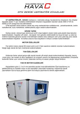 cfm serisi aspiratör cihazları