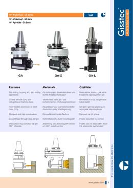 GA-X Serisi - 90° Açılı Kafa ISO30/40 Çıkışlı