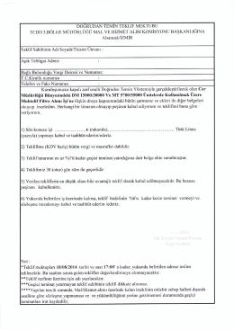 DO6RUDAN TEMIN TEKLIF MEKTUBU TCDD 3.BOLGE