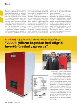 Esis Enerji, Yeni Enerji Dergisi Eylül