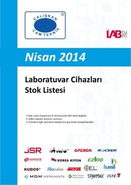 Nisan 2014 Laboratuvar Cihazları Stok Listesi
