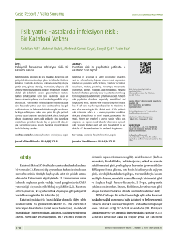 Psikiyatrik Hastalarda İnfeksiyon Riski: Katatonik Bir Vaka