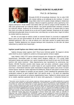 TÜRKÇE BİLİM DİLİ OLABİLİR Mİ? Prof. Dr. Ali Demirsoy