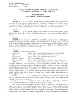 TİESF Yönetim Kurulu Karar Tarihi : 02.12.2014 Karar Numarası : 12