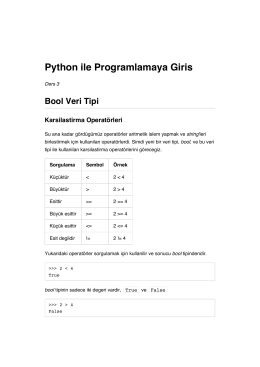 Python ile Programlamaya Giris Bool Veri Tipi