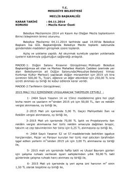 T.C. MESUDİYE BELEDİYESİ MECLİS BAŞKANLIĞI KARAR TARİHİ