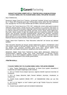 17/04/2014 tarihli 2013 yılı Olağan Genel Kurul
