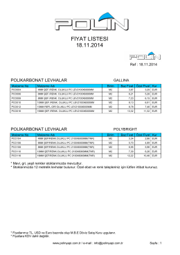 FİYAT LİSTESİ 18.11.2014 - Polin Yapı ve Reklam Malzemeleri Ltd.Şti.