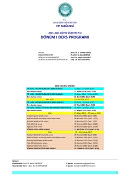 Dönem I - Balıkesir Üniversitesi Sağlık Uygulama ve Araştırma