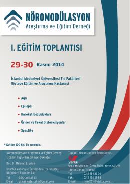 I. EĞİTİM TOPLANTISI - Türk Nöroşirürji Derneği