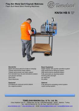 KN/54 HB S - Flaş Alın Kaynak Makinası
