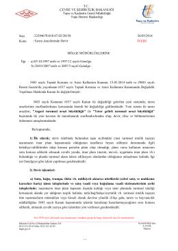 TC. ÇEVRE VE ŞEHİRCİLİK BAKANLIĞI Tapu ve Kadastro Genel
