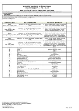 analiz talep ve kabul formu toprak analizleri