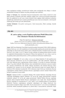 PH–091 M. sativa subsp. xvaria Popülasyonlarının Ploidi Düzeyinin