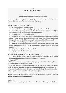 T.C. MİAMİ BAŞKONSOLOSLUĞU Türk Uyruklu Sözleşmeli Sekreter